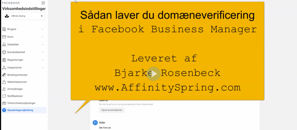 domaeneverificering facebook business manager guide